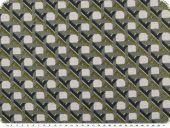 Jacquard deco fabric, checks and stripes, grey-blue-olive,