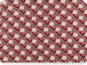 Jacquard deco fabric, checks and stripes, red-grey, 140cm