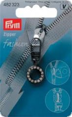 Fashion zipper , round, steel and rhinestones